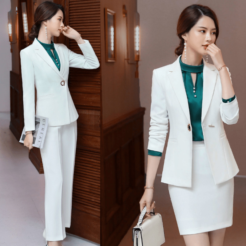 Professional Women's Suit Set 2019 Autumn New White Temperament Small Suit Joker Pants Slim Short Skirt Two-piece High Quality
