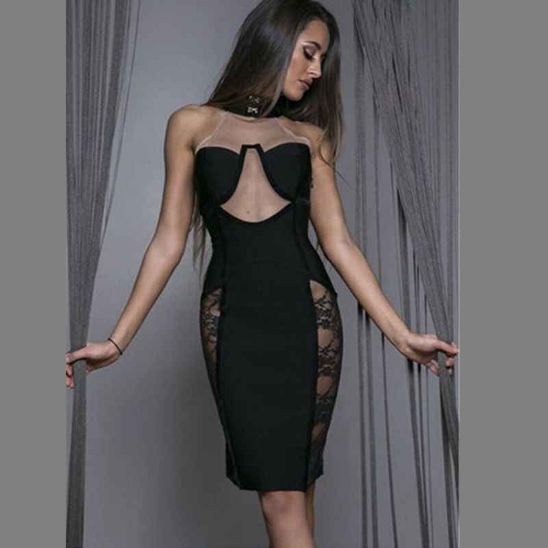 2017 lace mesh see through bandage dress sexy pink black women summer vetsido transparent night club short party dresses gown