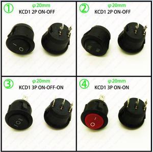 100 шт 20 мм Средний круглый черный/красный 2Pin 3PIN 3PIN 3а/250В 6А/125В кулисный переключатель Seesaw выключатель питания O-/ON-OFF