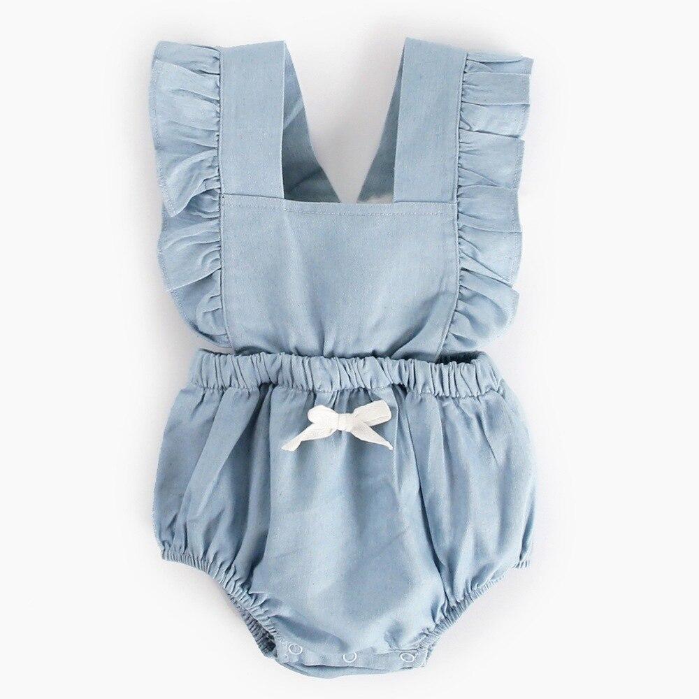 Free Shipping Baby Girls Clothes Cotton Backless Denim Onesie 2018 Ruffle Sleeveless Summer Newborn Infant Baby Girls Romper