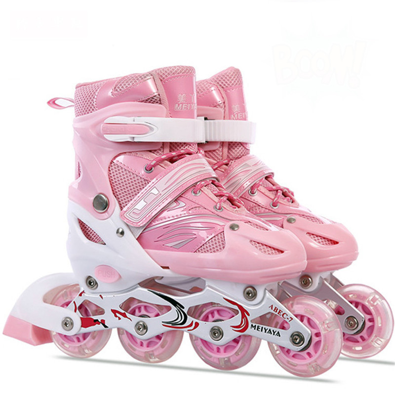 Children Inline Roller Skates Shoes Slalom Street Brush Skating PU Wheel Patines Unisex Adjustable Sneakers With Rollers IA100