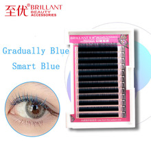 BRILLANT Japanese Colour Grafting False Eyelashes COS Stage 0.07 Coarse Mixing Gradual Change Plant Eyelash Blue