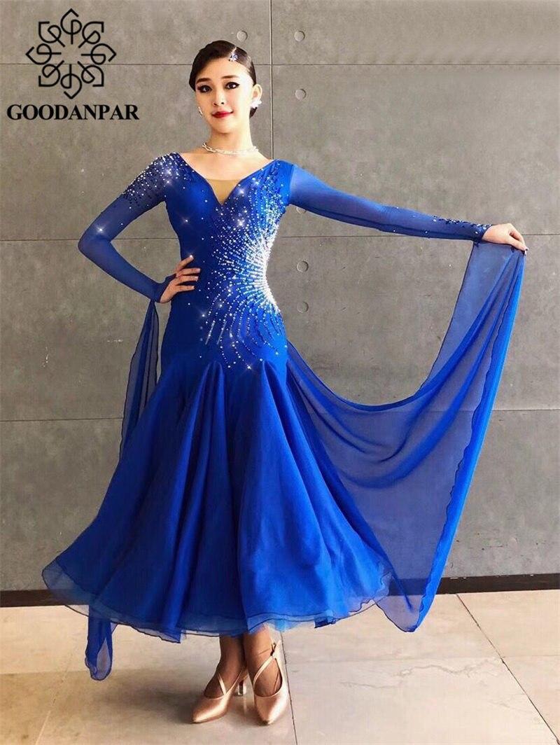 GOODANPAR Novo Sem Encosto Padrão Lycra Vestido da Dança de Salão De Baile Das Senhoras Das Mulheres Organza Competição Modern Waltz Traje Do Estágio Dancewear
