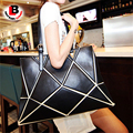 Women Fashion Patchwork Splice Plaid Handbag Diamond Shoulder Bag Large Capacity Black White Pu Leather For Girl new OL Commute