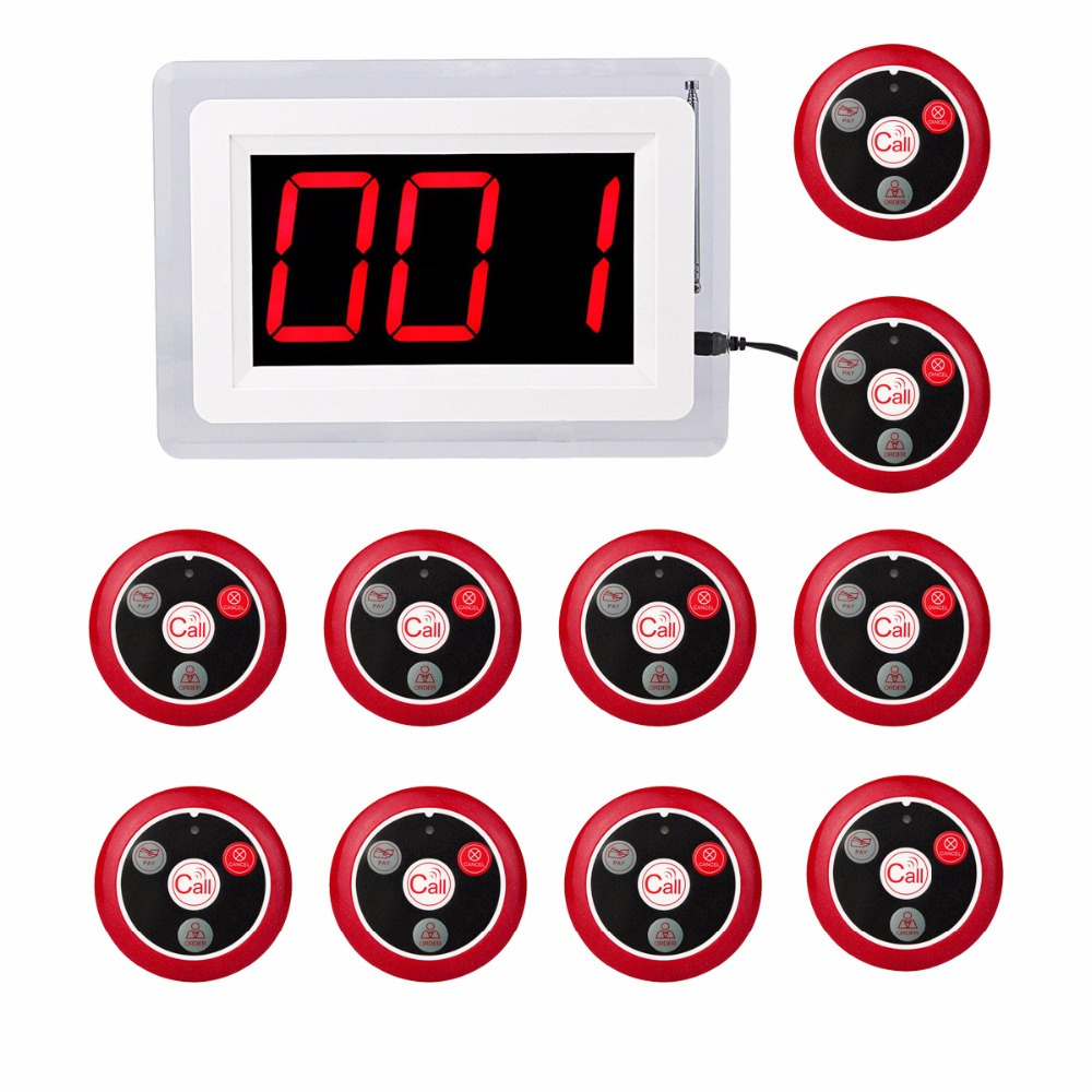 Restaurant Pager Wireless Calling System 1 Host Display+10pcs Call Button with Voice Reporting Restaurant Equipment F4400 digital restaurant pager system display monitor with watch and table buzzer button ycall 2 display 1 watch 11 call button