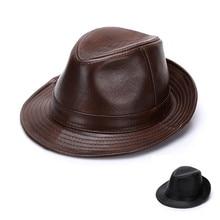 Adult 100% Genuine Leather Hat Men's Fedoras Cowhide Hats Br