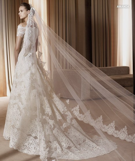 Hot Sale In Stock White Ivory 3 Meters Bride Veil Lace Wedding veil ...