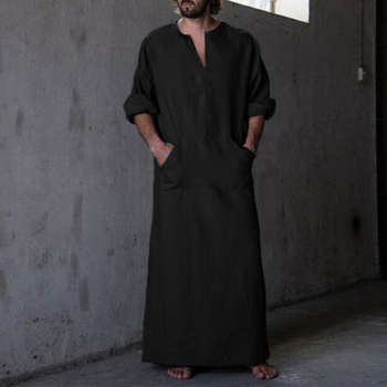 Moroccan Caftan New Men's Shirts Dress Long Sleeve 100%Cotton V-Neck Full Length Islamic Arab Kaftan Ropa Hombre Muslim Eid Costume Robe 2