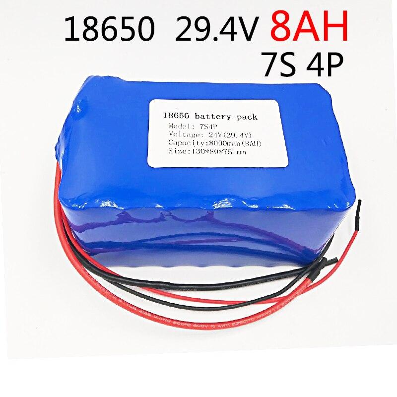 Livraison Gratuite DC 24 V 8ah 7S4P batteries 15A BMS 250 W 29.4 V 8000 batterie mah pour moteur chaise ensemble électrique Puissance