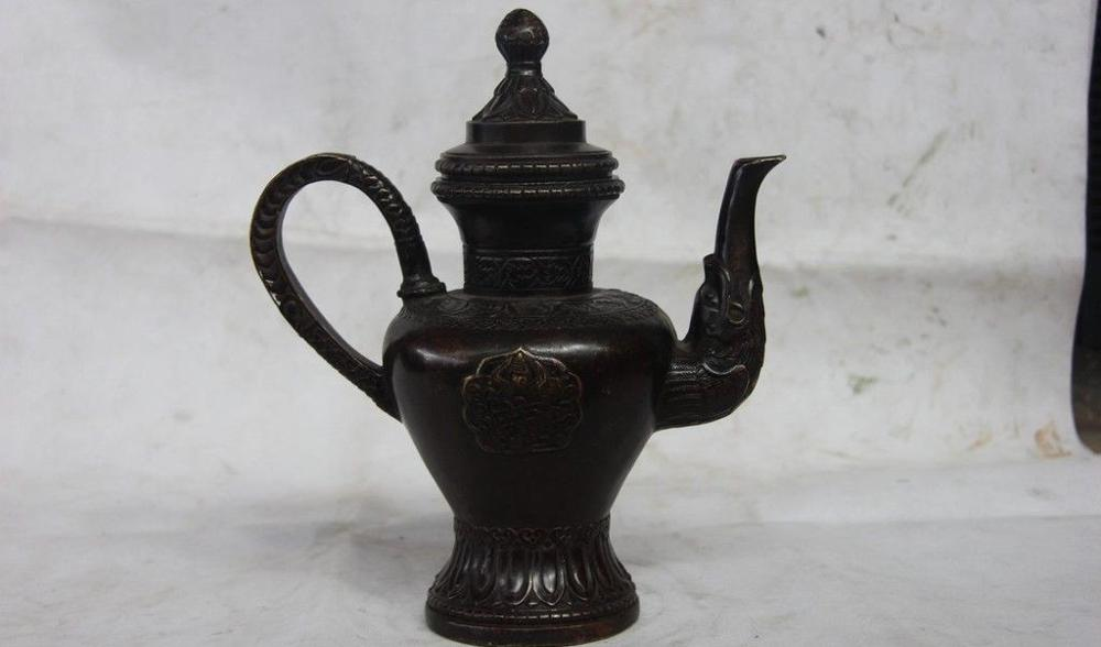 old Silver White Copper  Eight Immortals Bottle Teapot Flagon Wine Pot Statue