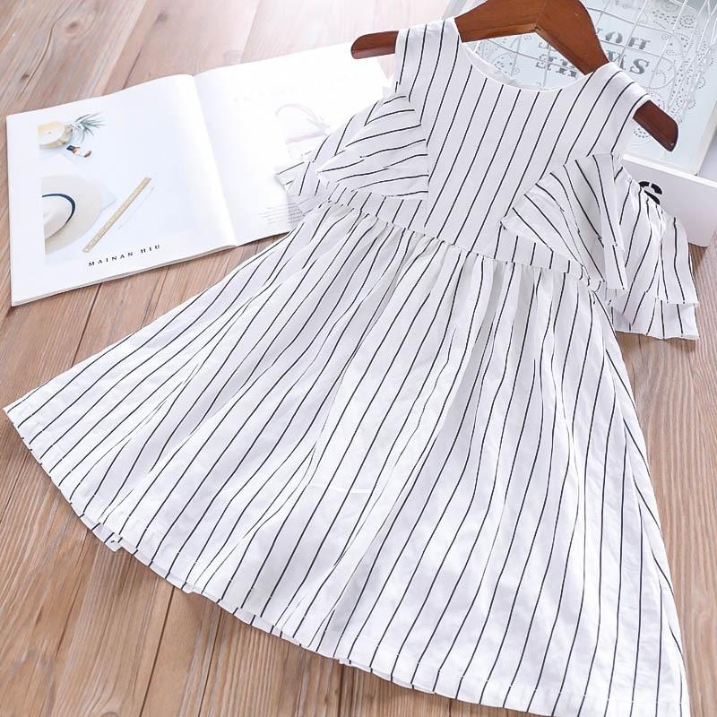 Summer 2019 Girls Stripes Bare Shoulders Children s Dresses Wholesale