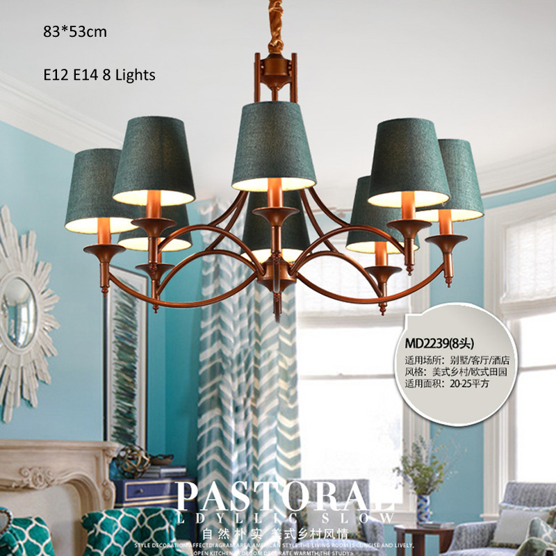 Industrial style chandeliers 8 lights e12 e14 fabric clothe shade industrial style chandeliers 8 lights e12 e14 fabric clothe shade metal arms living bed dinning room retro lamp in chandeliers from lights lighting on mozeypictures Choice Image