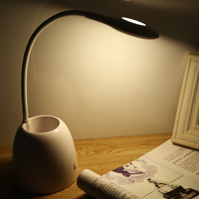 Mini smart touch led desk lamp usb table night light with pen holder dimmable led rechargeable