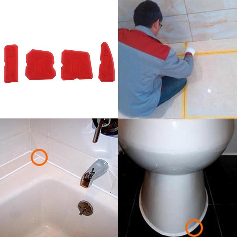 4Pcs Red Caulking Tool Caulk Finishing Joint Sealant Silicone Grout Remover Scraper Tile Cleaner Tool For Bathroom Kitchen