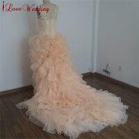 패션 블러쉬 핑크 프릴 웨딩 드레스 민소매 높은 낮은 볼