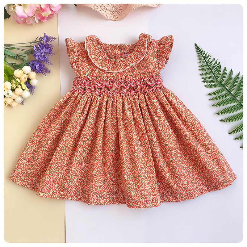 ffc721ce749da Detail Feedback Questions about Infant Flower Printed dresses Girl Vintage  Doll Collar Smocked Princess Dress Newborn Short Sleeves Party Bow Dress 0  3 ...