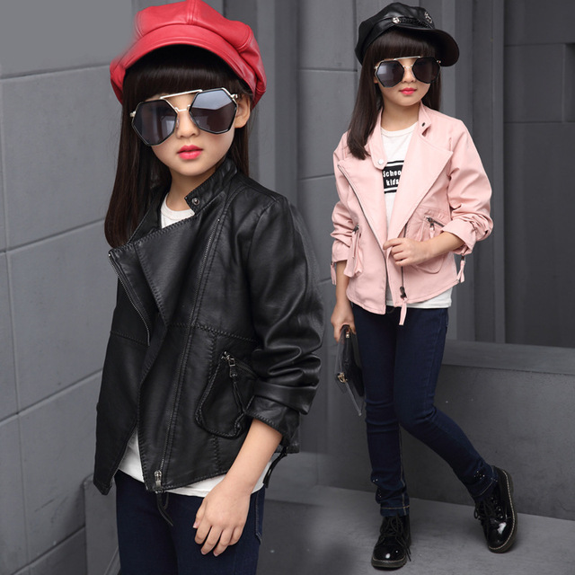 Girls Clothing Spring Autumn Teenagers Girls Clothes Faux Leather Jacket PU Outerwear Coats Kids Girls Jacket Children Clothing