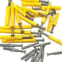 50sets Plastic Expansion Tube Expansion Seth Anchor Bolt Wall Plug Bolts Screw M4 20mm M5 25mm