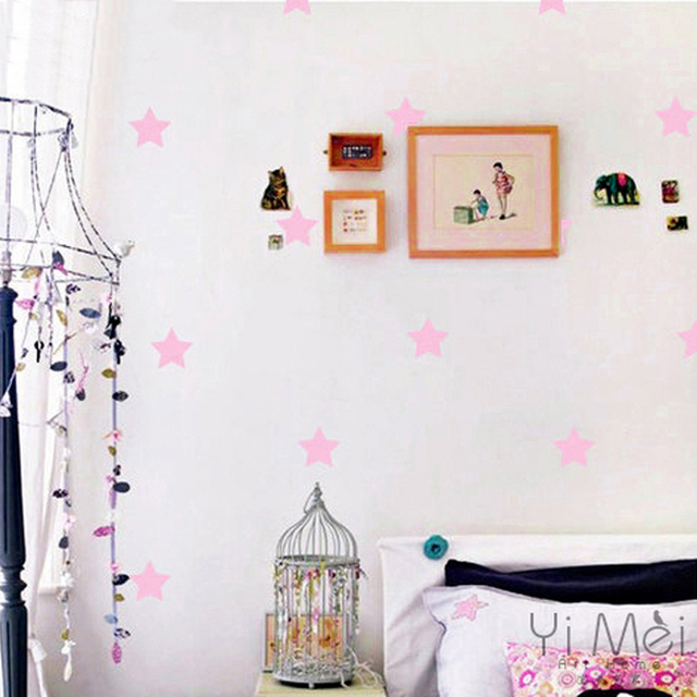32pcs Pink Little Stars Vinyl Wall Decor Decal Sticker Wallpaper Mural Nursery Kids Baby Room Bedroom