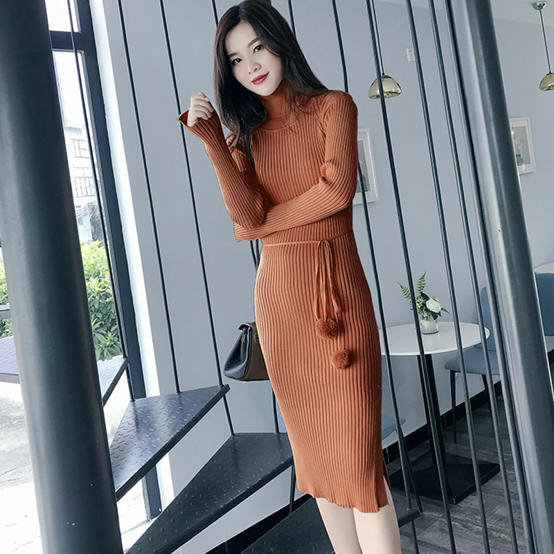 Knitted Dress Women Sexy Casual Long Sleeve Turtleneck Sweaters Dress 2018 New Autumn Winter Slim Bandage Bodycon Dress Vestidos