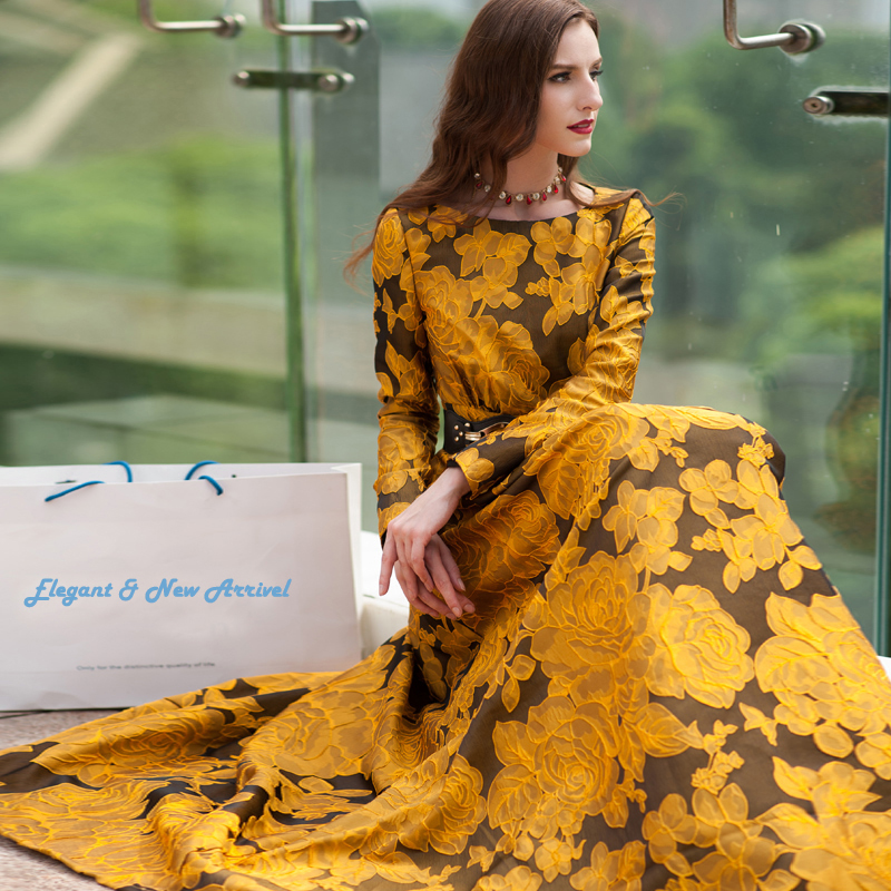 Newest Fall 2019 Designer Maxi Dress Party Dress Women's Long Sleeve Gorgeous Floral Jacquard Long Dress plus size S-3XL