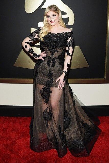 2015 Grammy Meghan Trainor Celebrity Vestidos largos opacidad encaje alfombra roja se viste fuera del hombro Vestidos de la celebridad