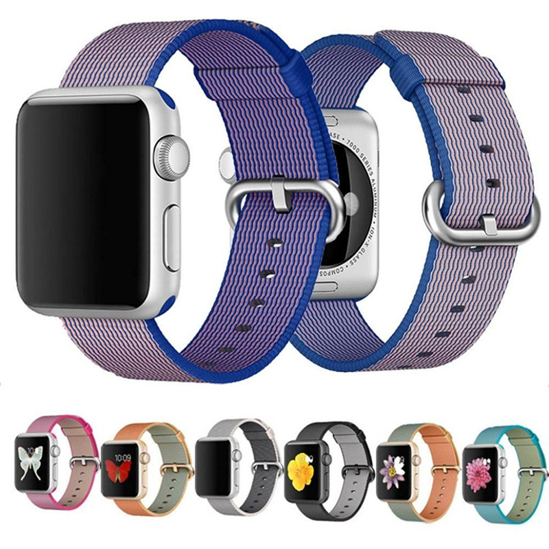Fashion Casual Nylon Watch Woven Band For Apple Watch 38mm 42mm Nylon Strap Fits 130-200mm Wrists Sports Watchbands For iWatch