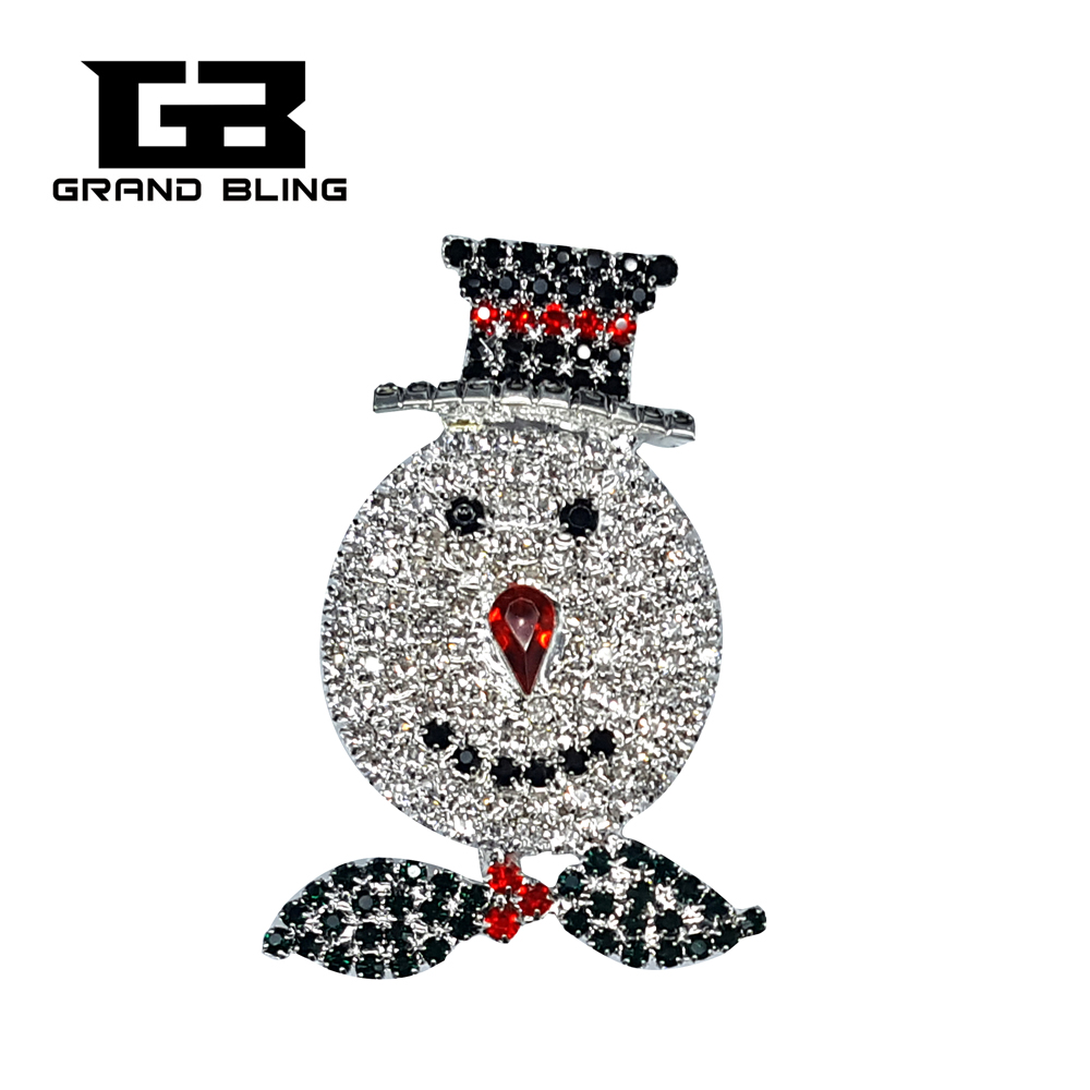 """Christmas Theme Gift Rhinestone Brooch """"Snowman"""" Pins Bling Jewelry for Christmas Festival"""