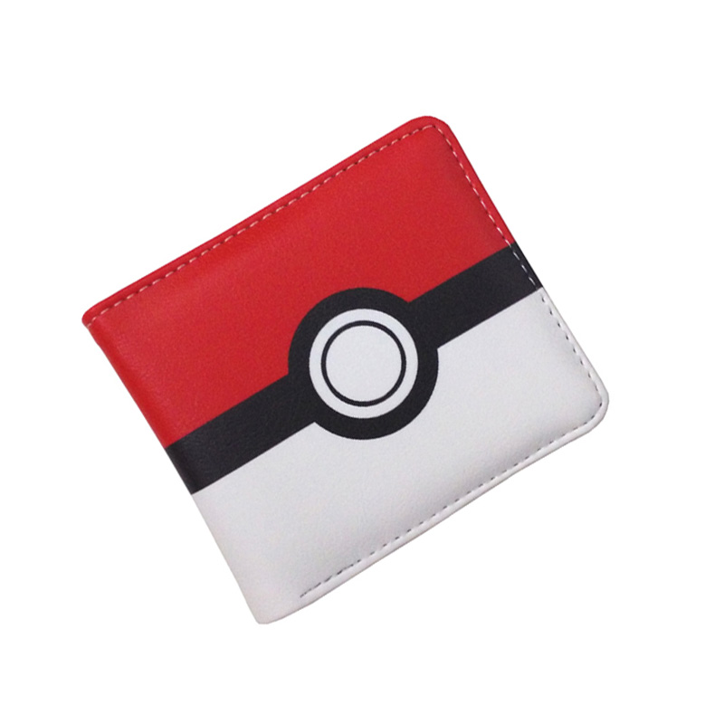 Free Shipping Anime Folding Wallet/Pikachu Poke Ball High Quality Short PU Purse anime pu short yellow purse button wallet printed with pikachu of pikachu