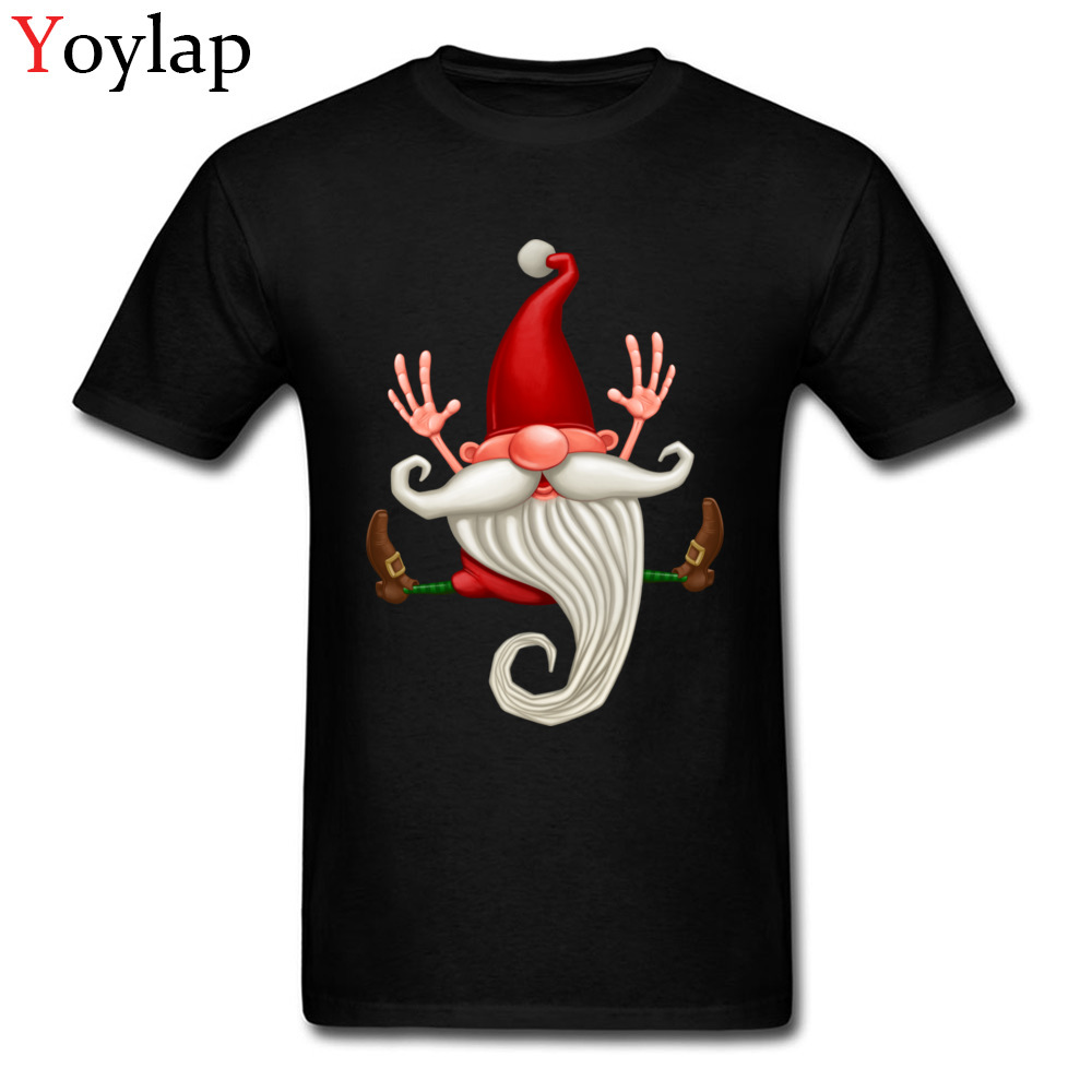 Funny Design Men T-shirt Boy's Cotton Tops Tees Christmas Santa Claus Jumping Print Short Sleeve O-Neck Summer/Fall Clothes