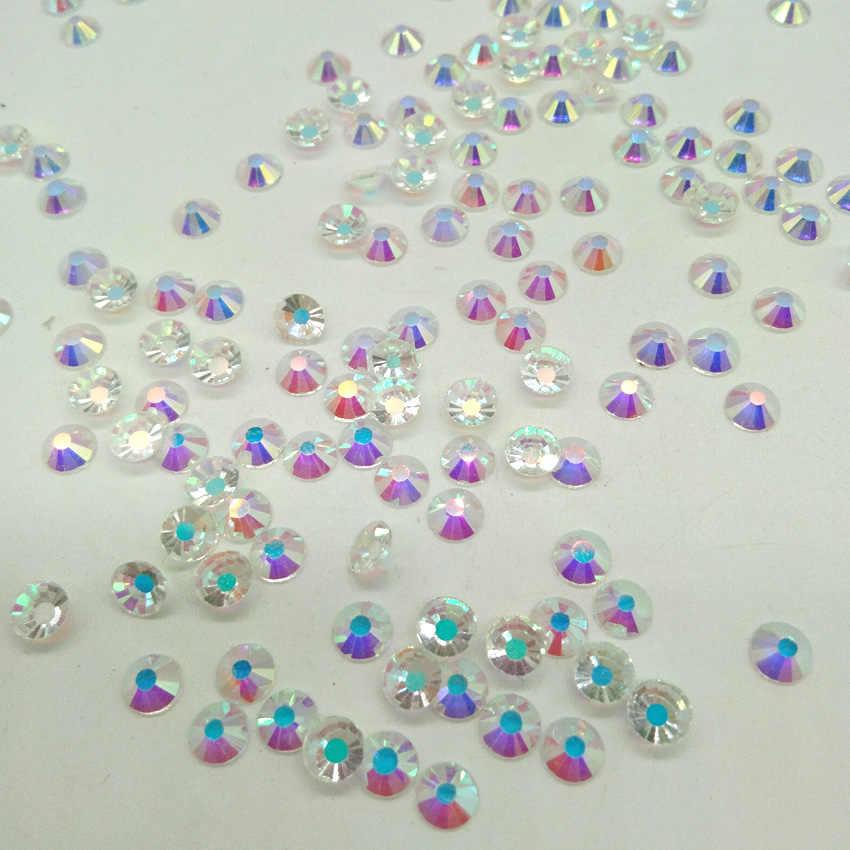 ラインストーンクリスタル AB ヒラタ以外のホットフィックスカラフルな AB ガラスラインストーングリッターネイルアートのデコレーション用の宝石宝石