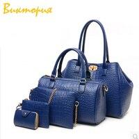 CHARA'S brand Five piece suit women's bags handbag+Shoulder Bags+Crossbody bag PU Crocodile texture Economic suit