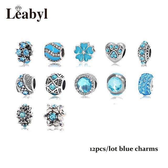 Mix Style Pink Blue Green Crystal Beads Fit Pandora Bracelet Fashion Diy Crown Flower Heart