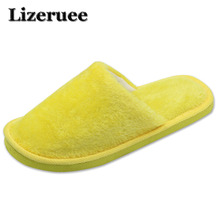 Candy color Warm Home Slippers Women Bedroom Winter Slippers  Indoor Slippers Cotton Floor Home Flax Shoes Q39 dreamshining warm slippers women bedroom winter slippers women cartoon bowtie japanese indoor slippers cotton floor home shoes