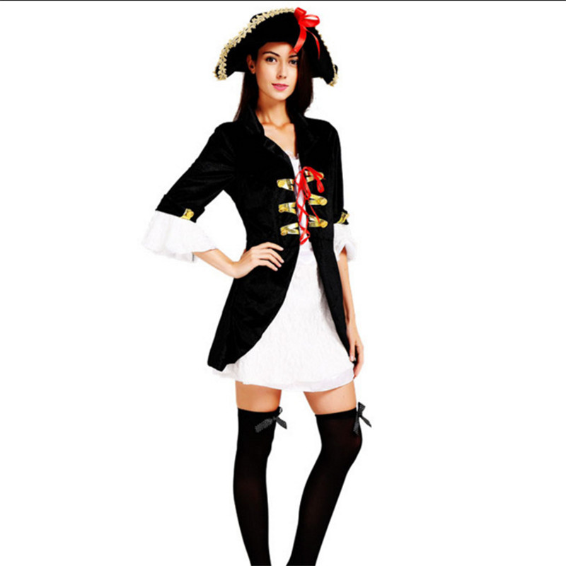 Adult Women Matador Pirate clothing Sexy Pirate Captain Cosplay Costume With Hat High Quality Plus Szie Halloween Pirate Costume