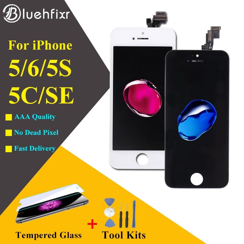 Calidad AAA para iPhone 5S 5 5C SE Pantalla LCD para iPhone 6 Pantalla Táctil Digitalizador con Regalos Herramientas + película de vidrio