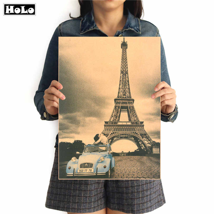 Tower Romantic french car Vintage krafts paper poster home decor retro wall art sticker painting 42x30cm