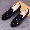 Inlay On Sale Mens Studded Loafers Romantic Sexy Mens Glitter Shoes Spikes Gold Loafers Men Dipper Shoes Hippies Bling