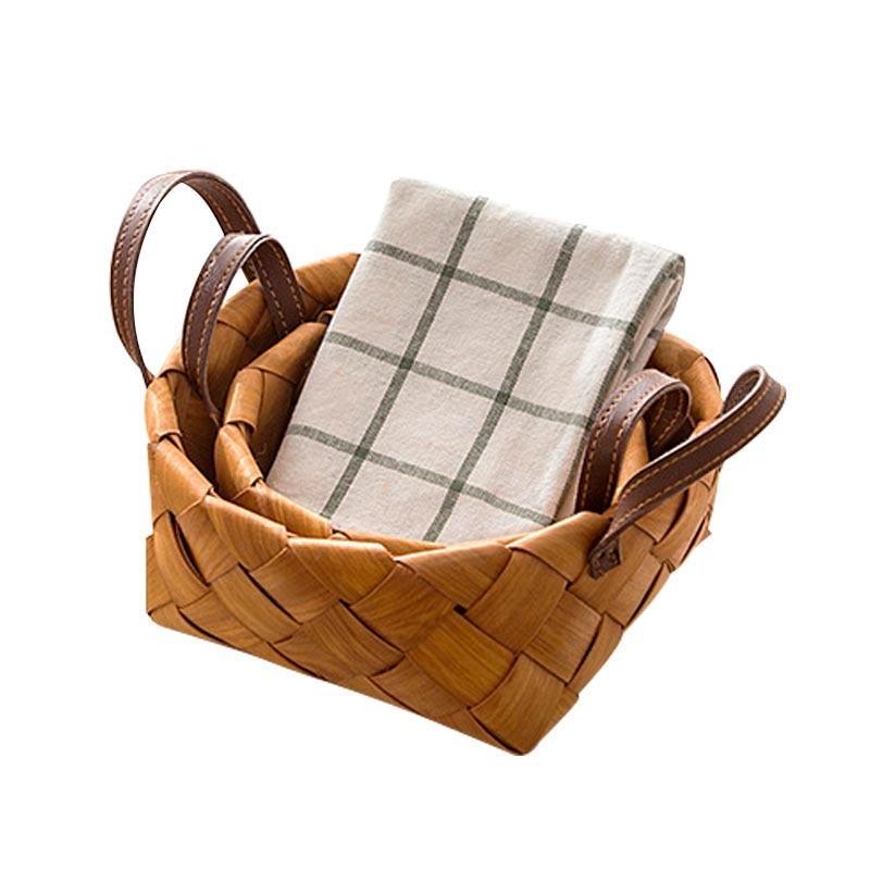 tejidas a mano virutas de madera caja de paja de mimbre canasta de canasta de