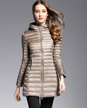 Woman Spring Padded Hooded Long Jacket White Duck Down Female Overcoat Ultra Light Slim Solid Jackets Coat Portable Parkas 2