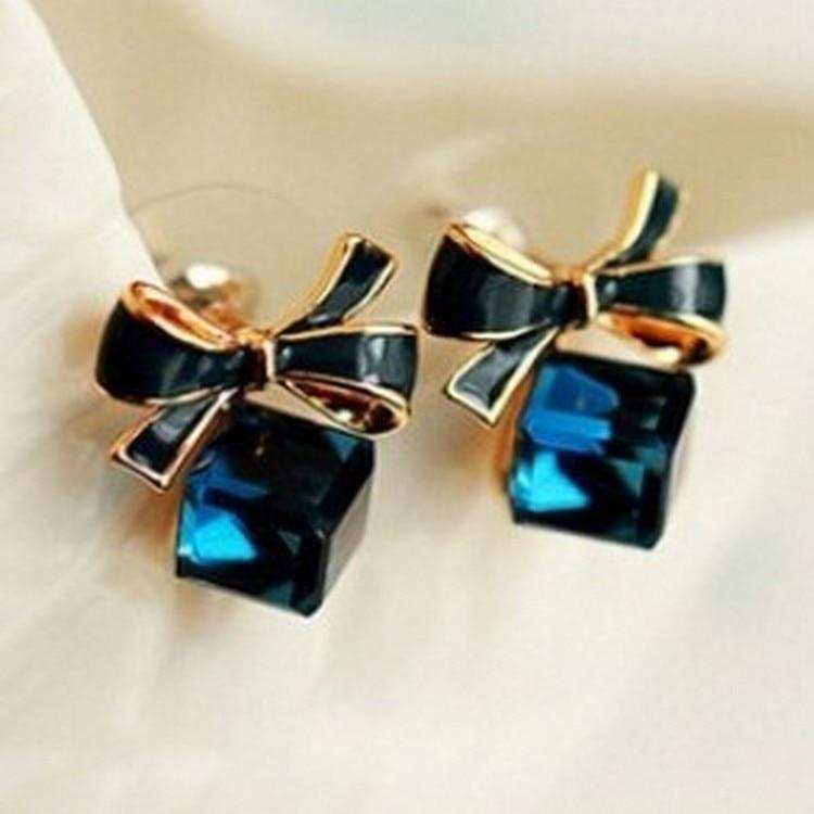 Austria Exquisite Crystal Blue Water Cube Box Cube Stone Bow Couple Earrings Jewelry Wholesale Earrings For Women Oorbellen