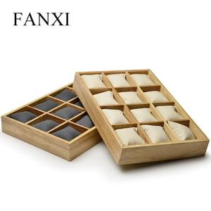 Image 2 - FANXI деревянный Ювелирный Браслет Дисплей лоток с микрофиброй 12 сетки подушки для выставки браслет часы Организатор оптовая торговля