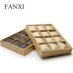 Image 2 - FANXI vassoio espositore per gioielli in legno con cuscini in microfibra 12 griglie per esposizione orologio da polso organizzatore allingrosso