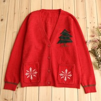 Snowflake Design Outerwear Ladies Gift Sweaters Ugly Christmas Tree Printing Knitted Cardigan Christmas Costumes Burderry Women