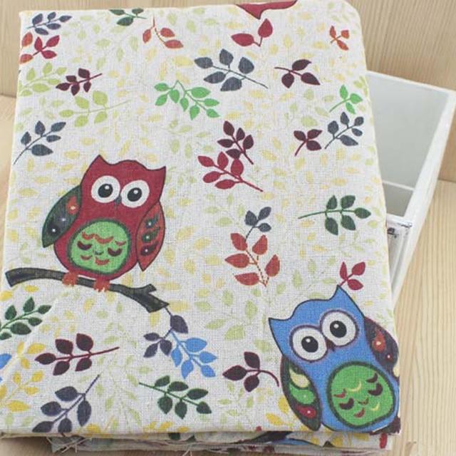 100 155cm Owl Print Cloth Sofa Upholstery Fabric Cotton Linen Thick