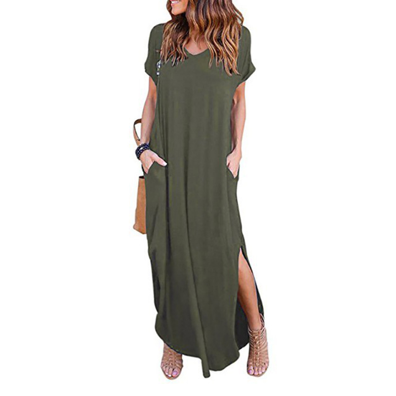 Plus Size 5XL Sexy Women Dress Summer 2020 Solid Casual Short Sleeve Maxi Dress For Women Long Dress Free Shipping Lady Dresses(China)