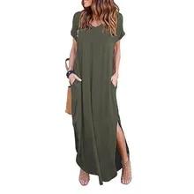 Plus Size 5XL Sexy Women Dress Summer 2020 Solid Casual Short Sleeve Maxi Dress For Women