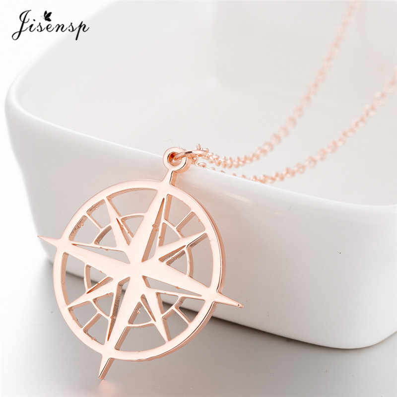 Jisensp Stainless Steel Compass Circle Charm Pendant Necklaces for Women Vintage Gold Long Chain Necklace Travel Jewelry Gifts