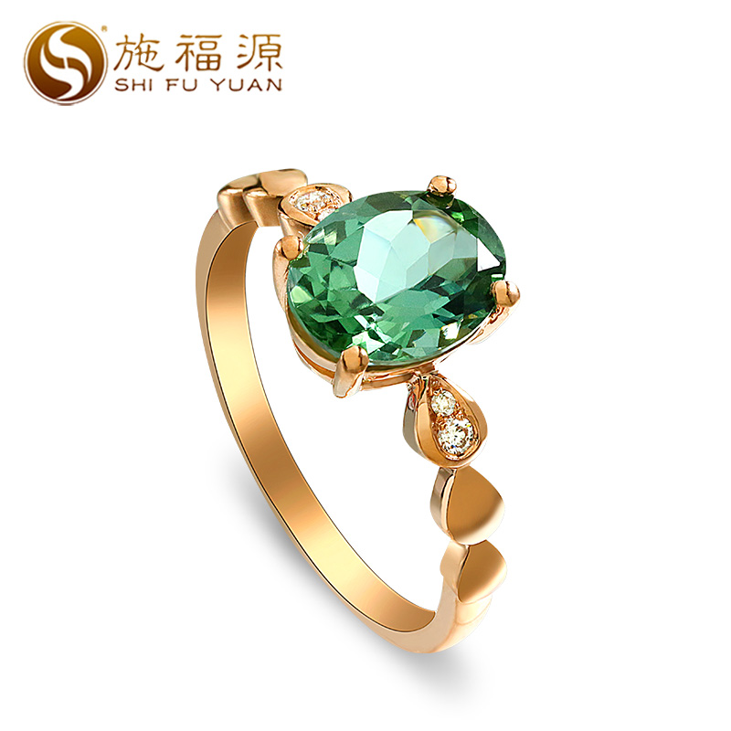 ShiFuYuan Ring 18K Gold 1.764ct Natural Green Oval Tourmaline Gemstone Ring with diamond for women wedding ring New style kcchstar 18k crystal ring with artificial diamond golden purple