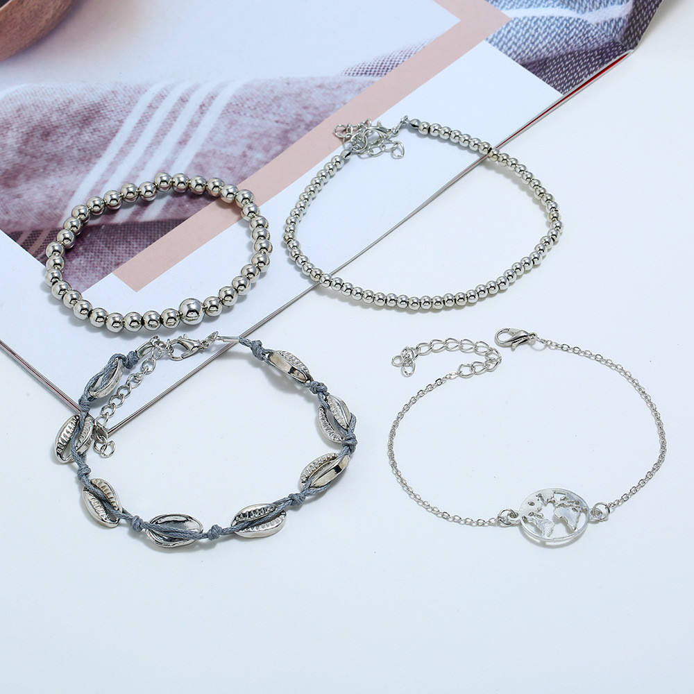 HOCOLE Vintage Silver Color Bead Bracelet Sets Female Fashion Charm Strand Bracelets For Women Bangles Bohemian Jewelry Party in Strand Bracelets from Jewelry Accessories